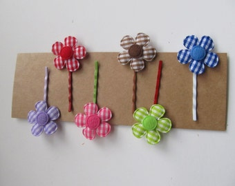 Cloth Flower Pins--Set of 6 GINGHAM Flower Pins--Clip Bobby Pins--Gift Wrap Embellishment