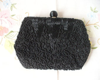 Vintage Black Beaded Change Purse