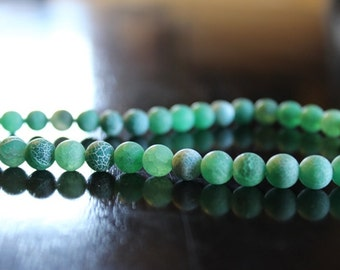 10 green dragon vein natural agate beads, 8mm hole 1mm