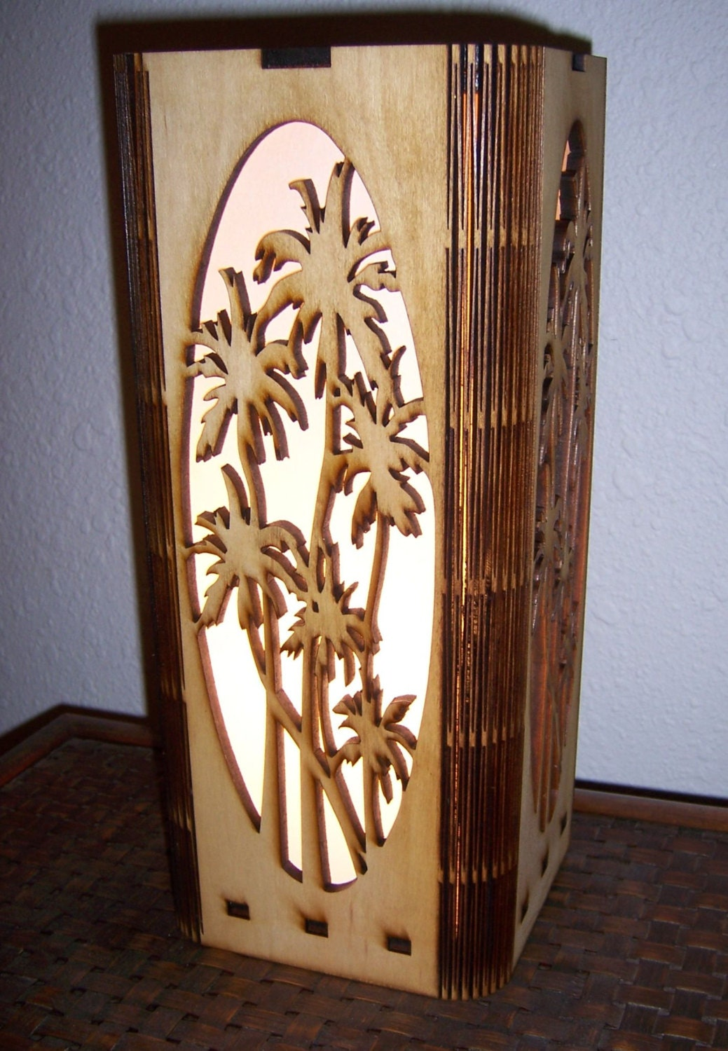 Palm Tree Lamp Laser Cut Accent Lamp Tropical Motif Lamp