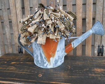 Galvanized Watering Can -  Rusty Watering Can, Watering Can, Floral Arrangement - Spring Floral - Garden-Farmhouse-Cottage-Primitive-Lodge