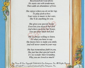"Five Stanza ""What Is A Grandmother"" Poem shown on ""Memories"" Background"