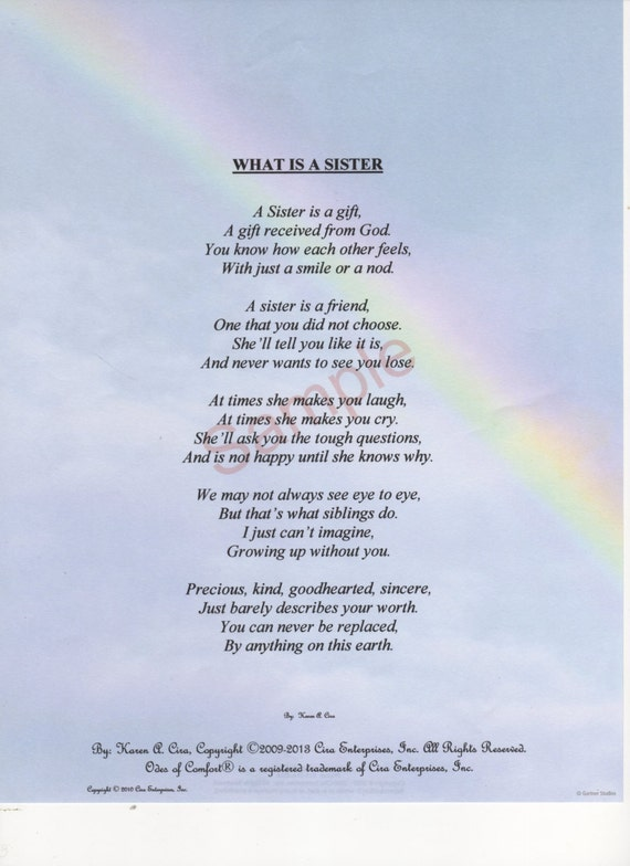 Five Stanza What Is A Sister Poem Shown On