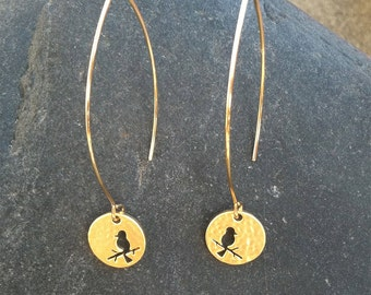 Hammered Matte Gold Bird Drop Earring