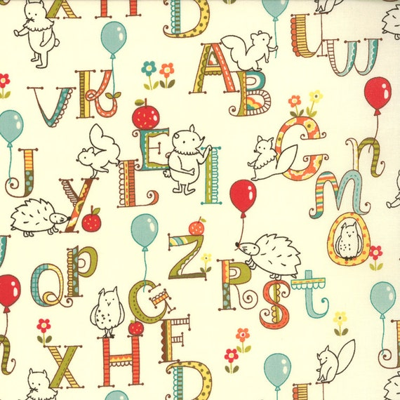 Mind your ps qs by keiki for moda fabrics fabric yardage for Childrens fabric