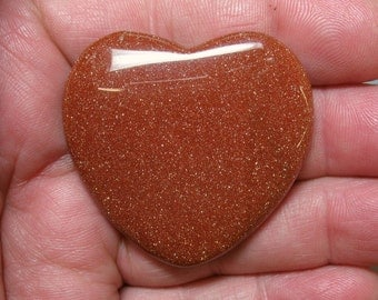Goldstone Flat Heart, 45 mm - Item 52108