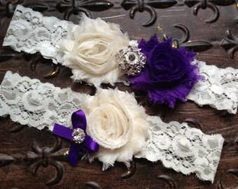 Purple Wedding Garter Set, Bridal Garter, Purple Ivory Wedding Garter, Lace Wedding Garter, Purple Garter, Ivory Wedding Garter, You design