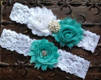 Wedding Garter, Turquoise Wedding Garter, Tiffany Blue Wedding Garter, White Turquoise Wedding Garter, White Lace Garter, Aqua Garter