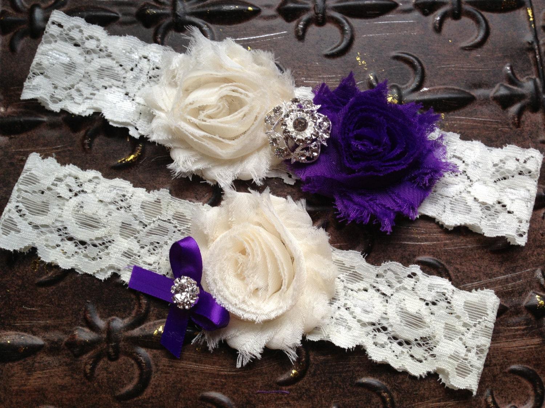 Purple Wedding Garter Set Bridal Garter Purple Ivory Wedding