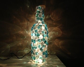 Bottle lamp (turquoise, silver)