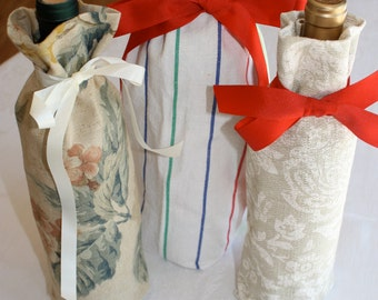 3 new homemade fabric gift or wine bottle bags
