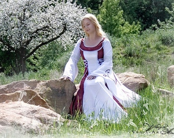 Historical Wedding Gown, red, white, medieval, middle age, lace wedding dress