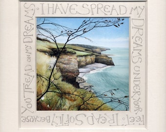 "Handwritten Calligraphy | Print of seashore watercolour | ""Towards Llantwit Major"" | Welsh coastal landscape art | Customised calligraphy"