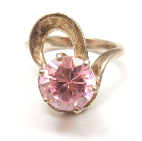 estate vintage sterling silver nd large pink cz cocktail ring