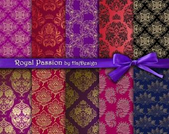 """Damask digital paper : """"ROYAL PASSION"""" elegant digital paper with damask, floral and swirl patterns / golden damask paper / wedding invites"""