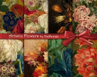 ARTISTIC FLOWERS - Instant Download, Digital Paper, Scrapbook Paper, Decoupage Paper, Vintage Floral Background, Floral Paper