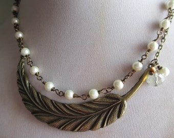 Featured Feather Necklace - 2 Piece Set - Large Antique Bronze Feather Pendant - Wire Wrapped Ivory Pearl Strand - Vintage Style