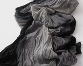 Pareo Scarf - Heathered Black Gray Scarf - Casual stripes - Long Scarf -Trendy Fabric Scarf - Shawl Scarf