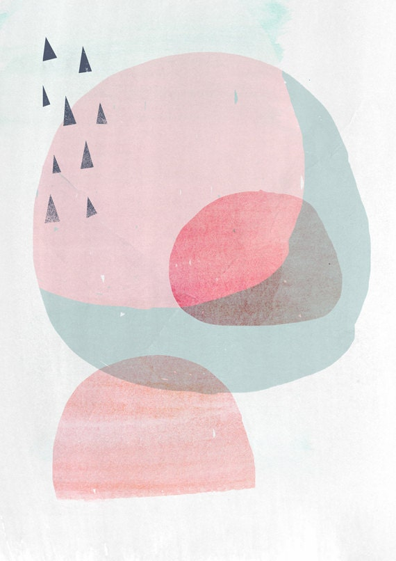 """Abstract Organic Shapes Art Print CIRCLES 2-  8x10 """""""