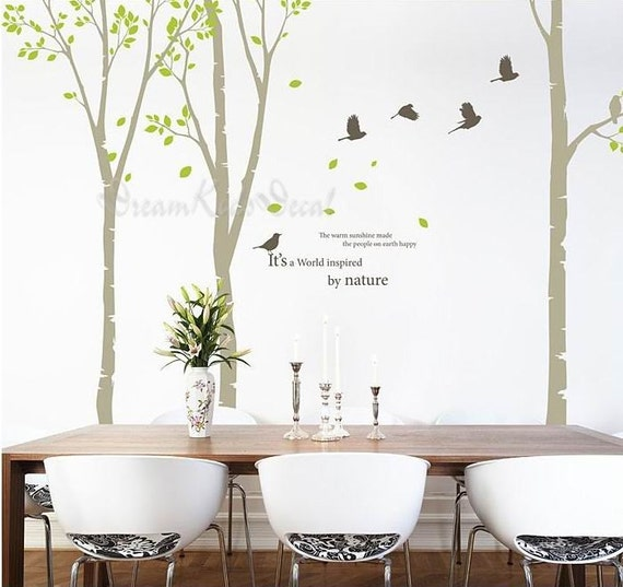 Birch trees decals wall decal nature wall by dreamkidsdecal for Beautiful birch tree wall mural