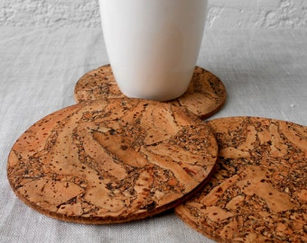Wooden Cork Coasters - Rustic Wooden Coasters - Round Trivets - Natural Cork - Eco Friendly - Wedding Gift Set of 4
