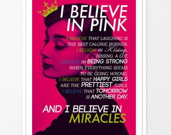 i believe in pink typography poster inspirational quote