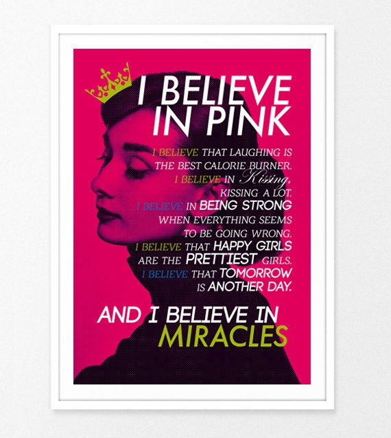 Girly Bedroom Audrey Hepburn Poster: Items Similar To I Believe In Pink Typography Poster