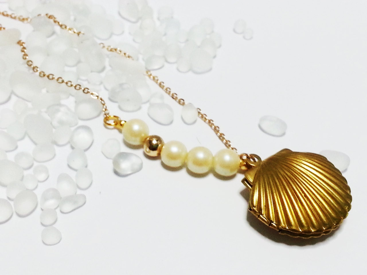 mermaid sea shell locket necklace by thewabbithole