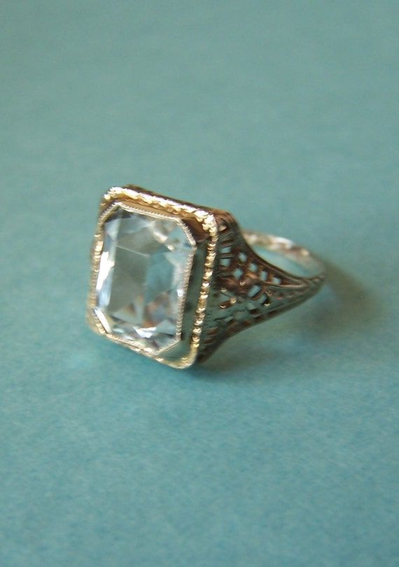 antique aquamarine 14 k white gold solitaire ring