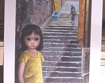 Walter Margaret Keane Vintage Lithograph Print GIRL OF CHINA MId-Century Mod Art