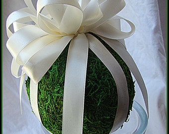 4'' Moss Flower Girl Pomander, Pew Decoration