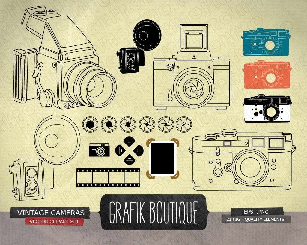 Grunge Camera Vector : Vintage camera vector art