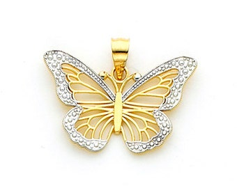 14Kt Two-tone Gold Filigree & Diamond Cut Accent Butterfly Pendant.