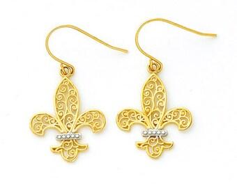 14k two-tone Gold Filigree Fleur-d-lis Fish Hook Earrings.