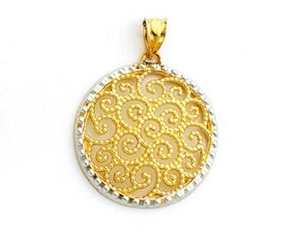 14K Two-tone gold Filigree Pendant