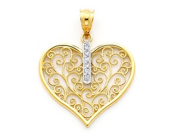 14K gold Filigree Heart Pendant set with .03 carat diamonds.