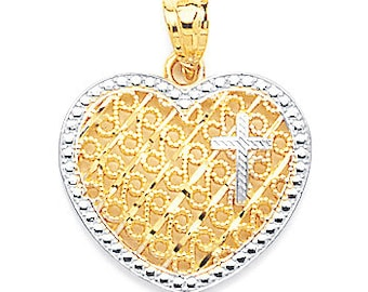 "Cross with Heart Pendant Filigree 14K Two-tone White & Yellow Gold (13/16"" wide by 15/16"" long)"