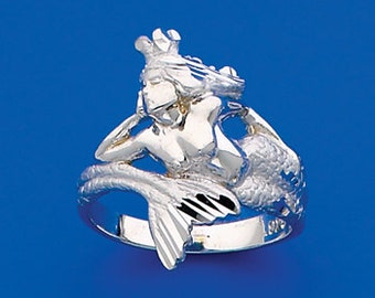 Sterling Silver Mermaid wrap ring, mermaid ring, sea princess, mermaid
