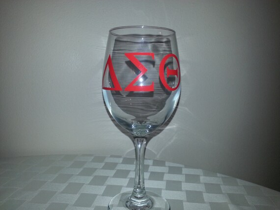 Items similar to sorority wine glass with greek vinyl for Where to buy vinyl letters for wine glasses