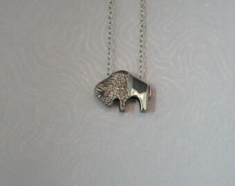 Sterling Silver Med. Bison/Buffalo Pendant