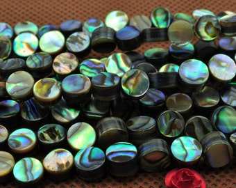 64 pcs of Abalone flat coin beads in 6mm