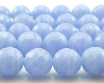 39 pcs of Blue lace agate faceted round beads in 10mm