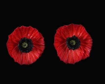 Red Poppy Earrings