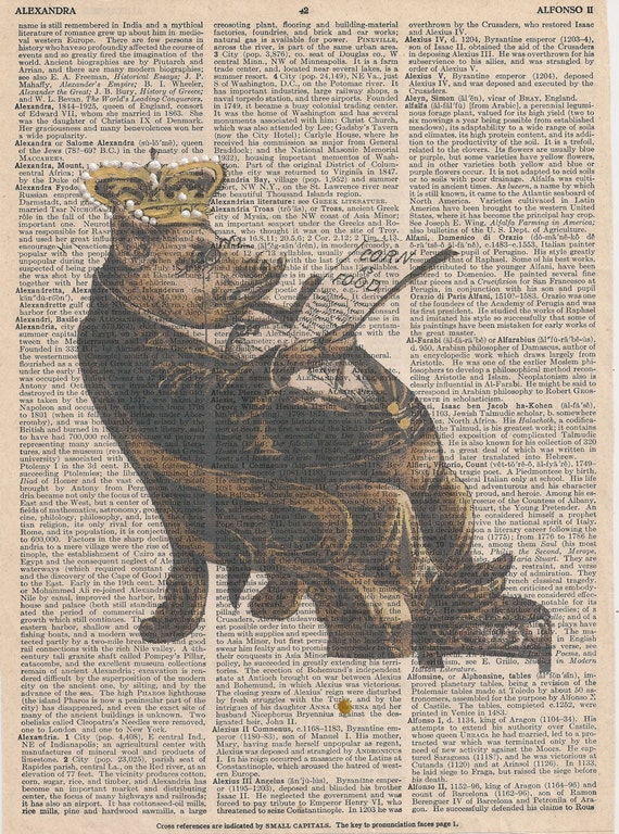 Book Print Mr.Pig put onb his  crown and reading a newspaper Upcycle Book Print Art Print Dictionary Print Collage Print