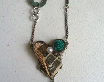 The Heart Of The Ocean Real Seahorse Steampunk Necklace