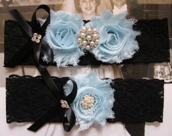 Something Blue / Black & Light Blue /  Wedding Garters / Lace Garter/ Bridal Garter Set / Vintage Inspired