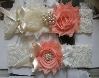 Garter / Blush / Wedding Garters / Bridal Garter / Toss Garter / Garter Set / Vintage Inspired Lace Garter / Light Ivory Lace