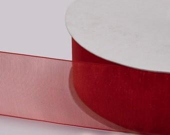 """Red Organza Ribbon, Organza Sheer Ribbon, Widths Available: 1 1/2"""", 1"""", 6/8"""", 5/8"""", 3/8"""", 1/4"""", 1/8"""""""