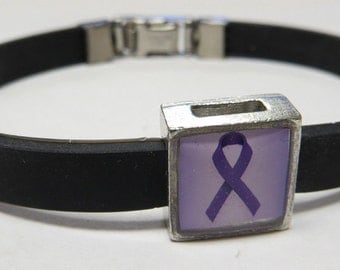 Pancreatic Cancer Awareness Purple Ribbon Link With Choice Of Colored Band Charm Bracelet