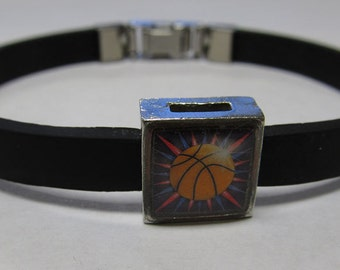Sport Basketball Link With Choice Of Colored Band Charm Bracelet